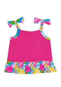 Jumping Fences by Rare Editions Girls 4-6x Fuchsia Dot Bow Shoulder Tank