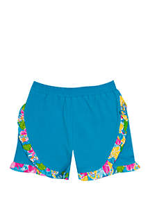 318142eb88 ... Jumping Fences by Rare Editions Girls 4-6x Solid Blue Shorts with  Floral Ruffle Trim