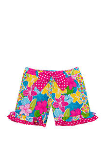 Jumping Fences by Rare Editions Girls 4-6x Tropical Floral Double Ruffle Shorts