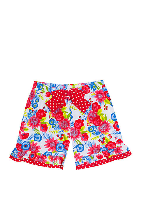 Girls 4-6x Floral Double Ruffle Shorts