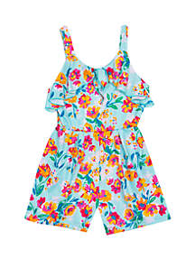 Rare Editions Girls 4-6x Turquoise Floral Romper with Bow