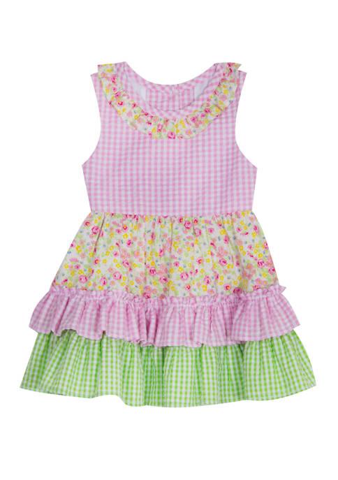 Girls 4-6x Sleeveless Gingham Floral Seersucker Dress