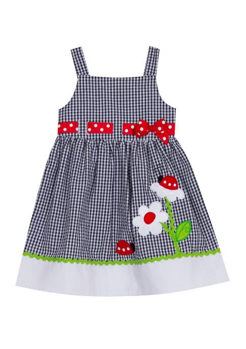 Rare Editions Girls 4-6x Sleeveless Ladybug Seersucker Dress