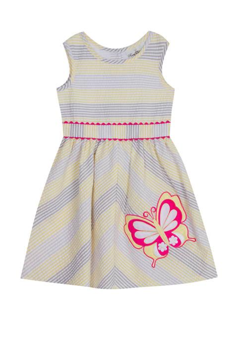 Rare Editions Girls 4-6x Sleeveless Butterfly Seersucker Dress