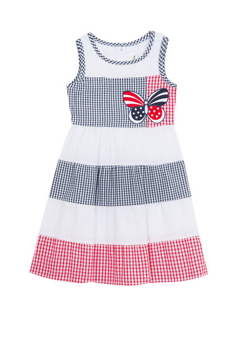 Girls 4-6x Sleeveless Americana Seersucker Dress