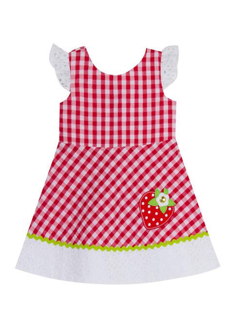 Rare Editions Girls 4-6x Flutter Sleeve Seersucker Dress