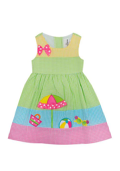Rare Editions Girls 4-6x Sleeveless Beach Seersucker Dress