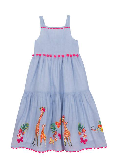 Girls 4-6x Sleeveless Border Print Maxi Dress