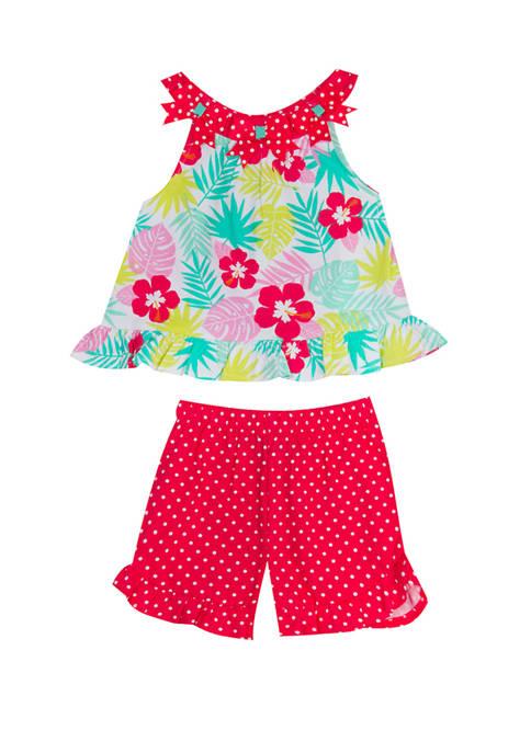 Rare Editions Girls 4-6x Sleeveless Hawaiian Ruffle Shorts