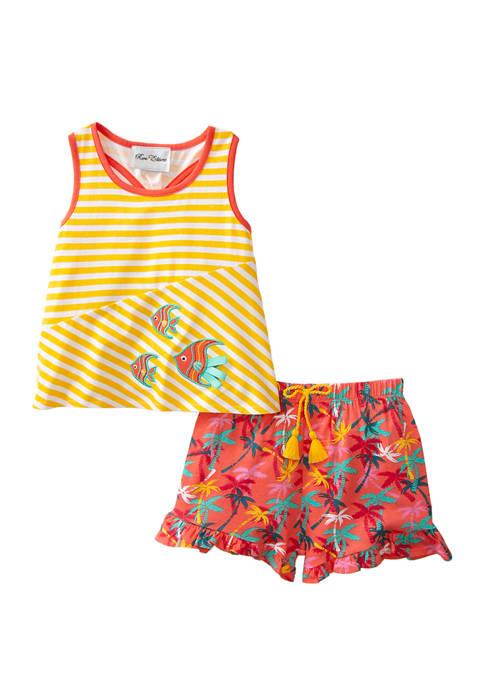 Rare Editions Girls 4-6x Fish Sleeveless Shirt and