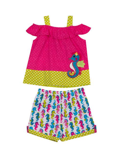 Girls 4-6x Sleeveless Seahorse Shorts Set