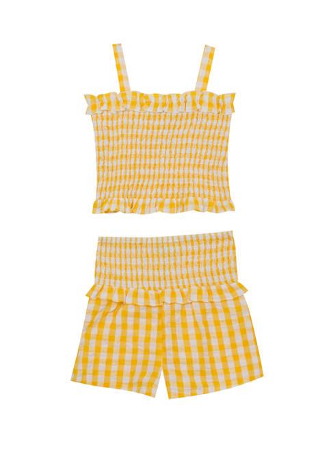Rare Editions Girls 4-6x Sleeveless Smocked Shorts Set