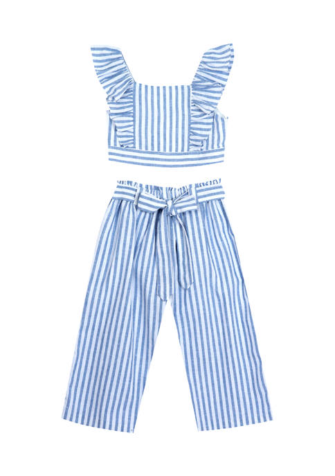 Counting Daisies Girls 4-6x 2 Piece Stripe Ruffle