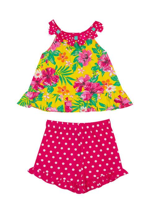 Girls 4-6x Floral Print Top and Dot Print Shorts Set
