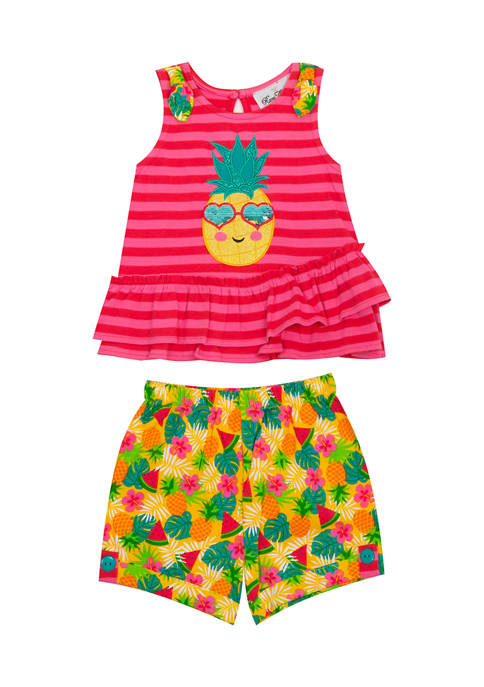 Counting Daisies Girls 4-6x Knit Pineapple Shorts Set