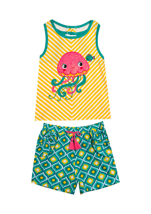 Counting Daisies Girls 4-6x 2 Piece Knit Jellyfish