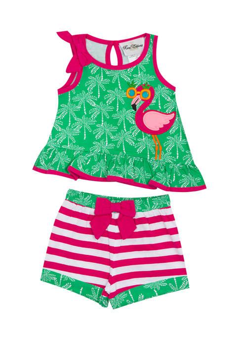 Counting Daisies Girls 4-6x Flamingo Shorts Set