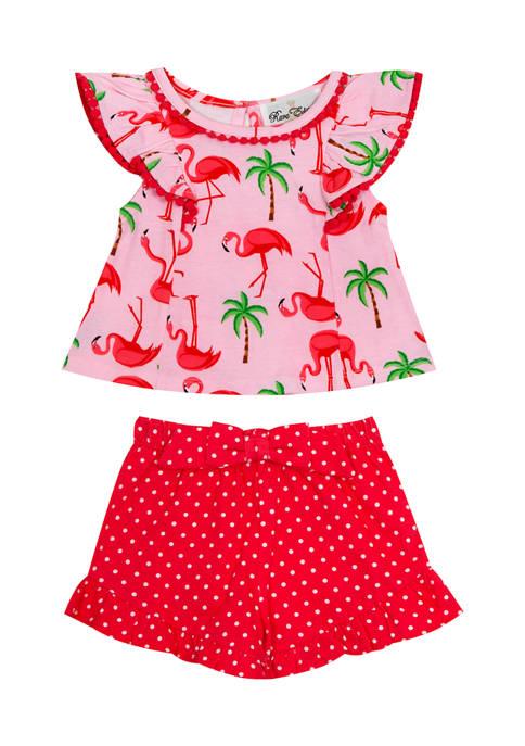 Girls 4-6x Flamingo Printed Short Set