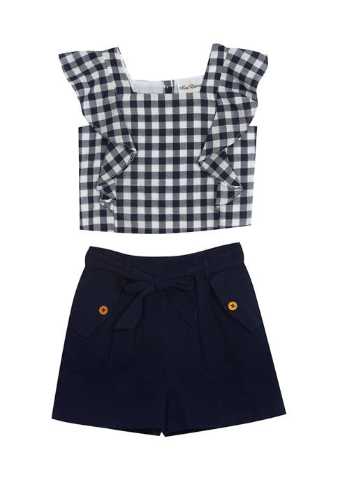 Counting Daisies Girls 4-6x Gingham Ruffle Top and