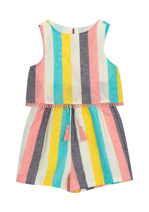 Girls 4-6x Yarn Dye Stripe Popover Romper