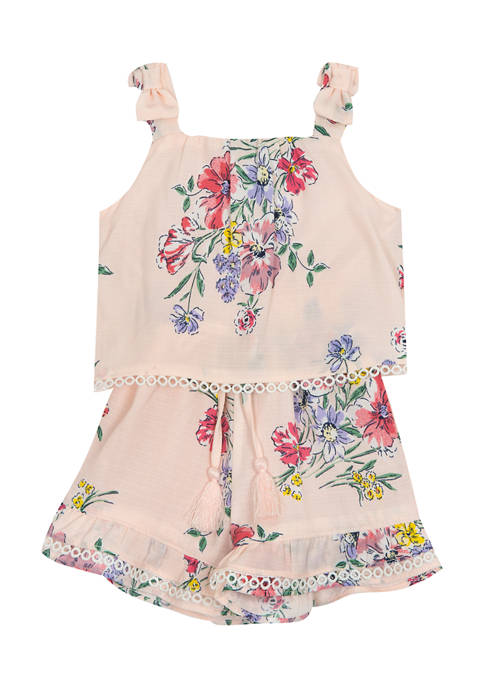 Counting Daisies Girls 4-6x Printed Woven Popover Romper