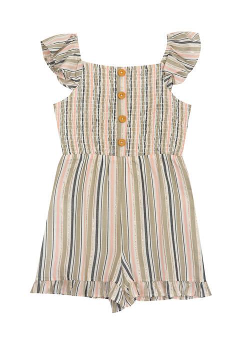 Girls 4-6x Yarn Dye Striped Smocked Romper