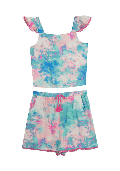 Counting Daisies Girls 4-6x Tie Dye Flutter Sleeve