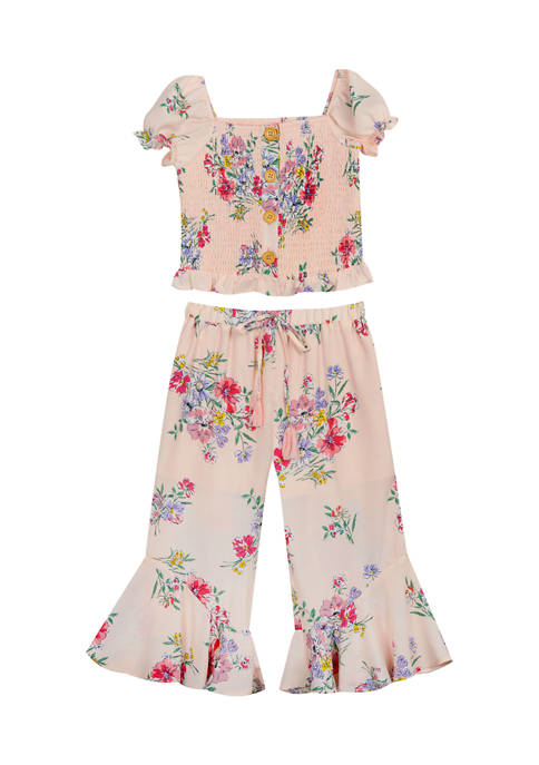 Counting Daisies Girls 4-6x Printed Woven Smocked Bodice