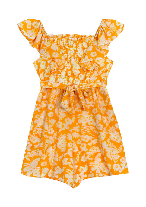 Counting Daisies Girls 4-6x Floral Ruffle Sleeve Smocked