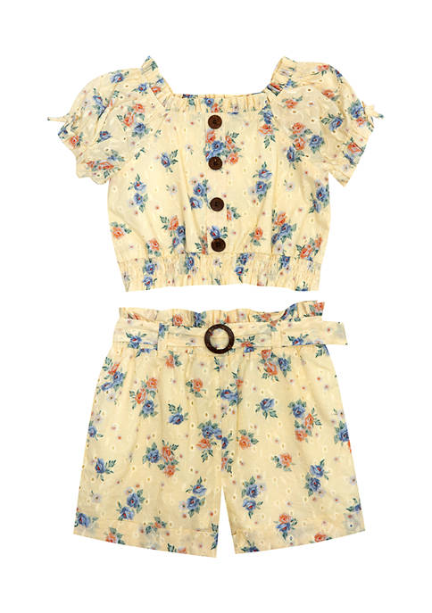 Counting Daisies Girls 4-6x 2 Piece Printed Eyelet