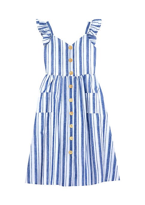 Counting Daisies Girls 4-6x Flutter Sleeve Striped Button