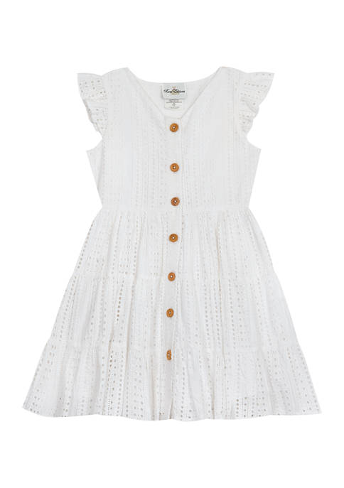 Counting Daisies Girls 4-6x Eyelet Button Down Dress
