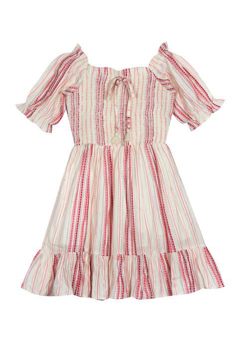 Girls 4-6x Stripe Gauze Puff Sleeve Dress