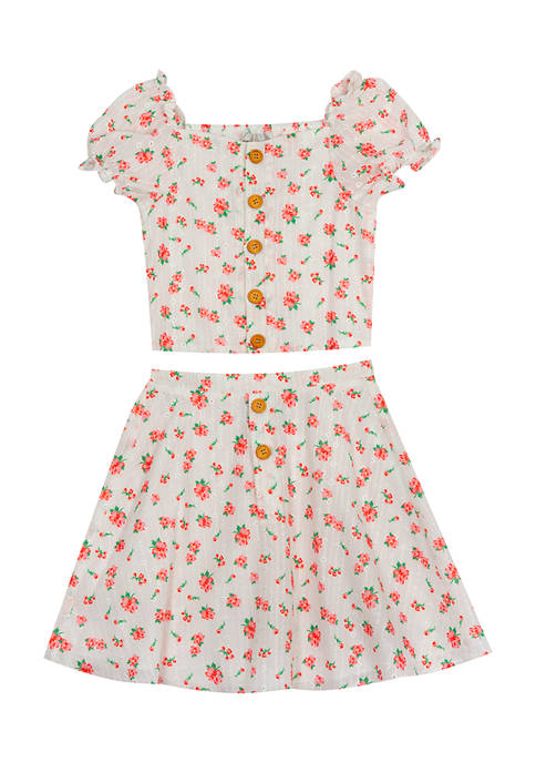 Girls 7-16 Floral Printed Eyelet Button Top and Skirt Set