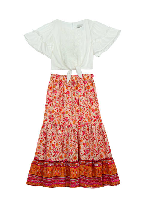 Girls 7-16 Gauze Tie Front Top and Printed Woven Maxi Skirt Set
