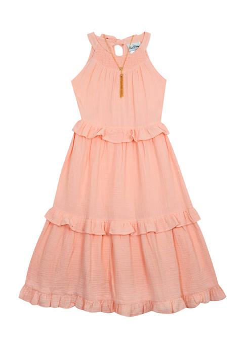 Girls 7-16 Sleeveless Textured Gauze Ruffle Maxi Dress with Necklace
