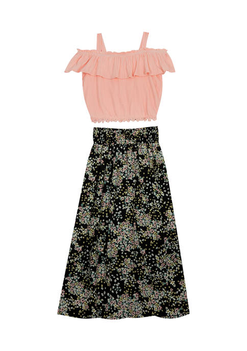 Girls 7-16 Off the Shoulder Ruffle Top and Printed Linen Maxi Skirt Set