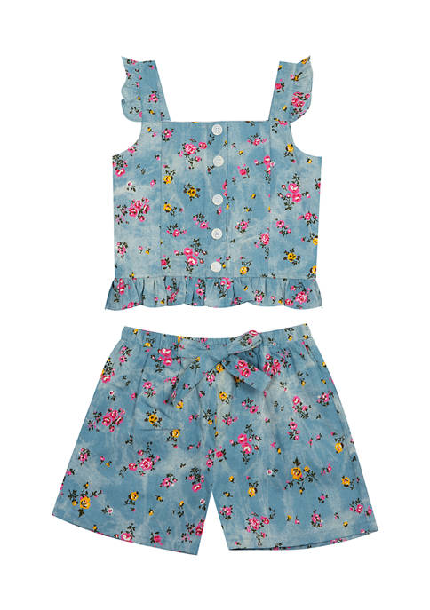 Counting Daisies Girls 7-16 Printed Tie Dye Chambray
