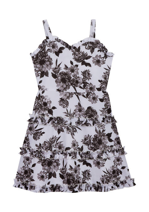 Counting Daisies Girls 7-16 Sleeveless Floral Ruffle Tiered