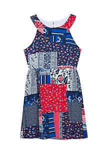 Girls 7-16 Americana Bandana Print Dress
