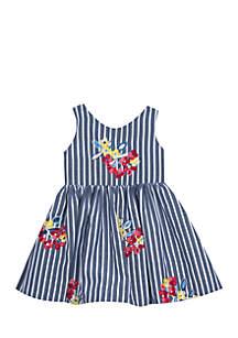 Bow Back Stripe Dress Girls 7-16