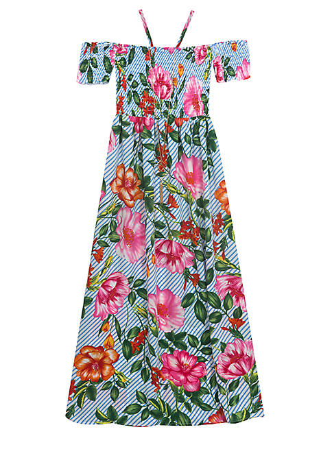 Rare Editions Girls 7-16 Smocked Off-The-Shoulder Floral Tropical