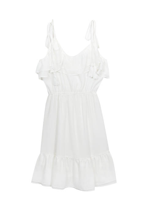 Rare Editions Girls 7-16 Cold-Shoulder White Ruffle Dress