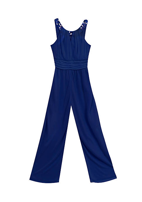 Rare Editions Jewel Neck Jumpsuit Girls 7-16
