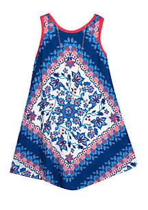 Girls 7-16 Sleeveless Placed Print V-Hem Dress
