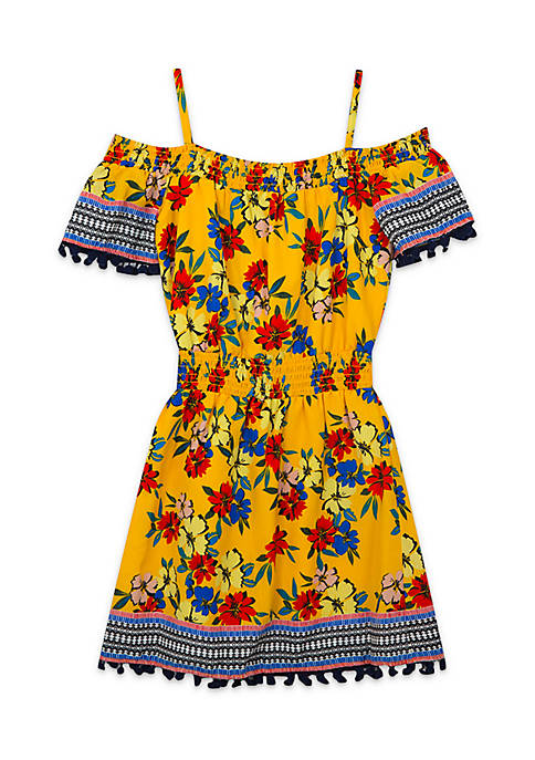 Rare Editions Girls 7-16 Off-The-Shoulder Border Print Dress