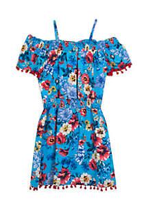 Girls 7-16 Off The Shoulder Floral Fit-and-Flare Dress