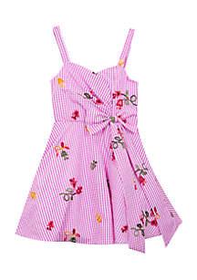 Floral Seersucker Bow Dress Girls 7-16