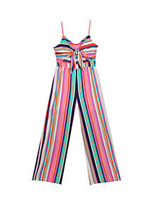 f03e3b2ea575 ... Rare Editions Girls 7-16 Multicolor Tie Front Jumpsuit