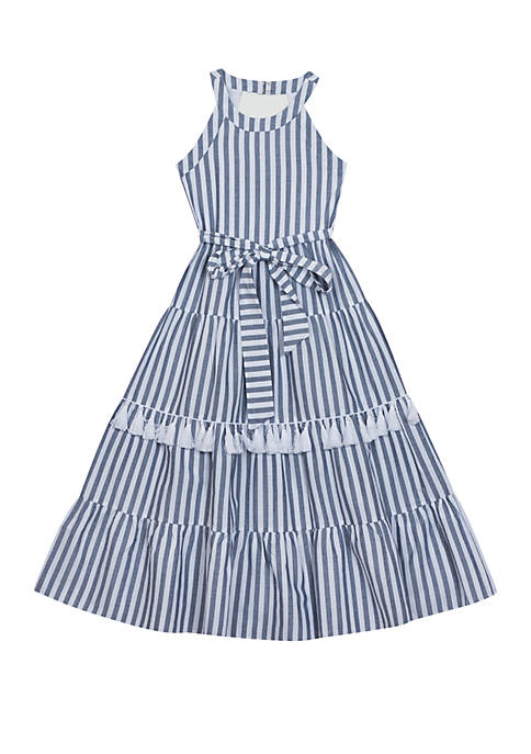 Girls 7-16 Blue and White Tiered Halter Maxi